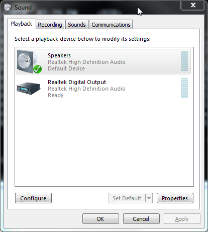 Win7 Sound dialog with device selected