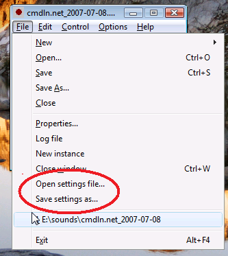 Settings files in RecAll-PRO