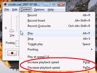 Playback speed change in RecAll-PRO