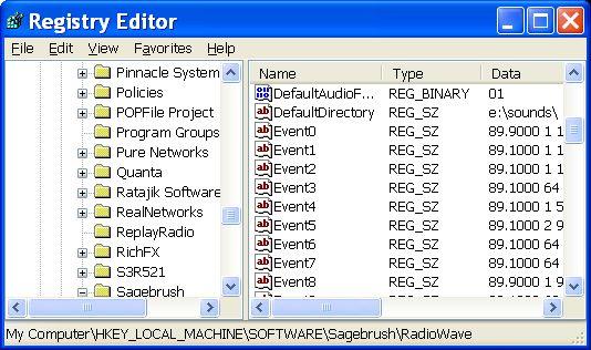 XP Registry Editor screenshot