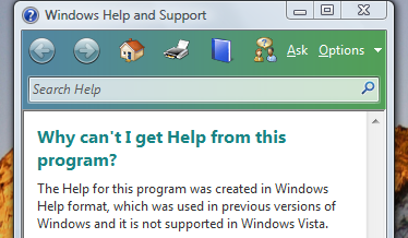 No WinHelp available