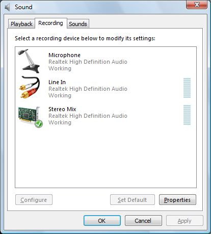 set stereo mix as default device